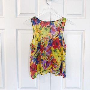 Show Me Your MuMu Semi Sheer Floral Crop Top